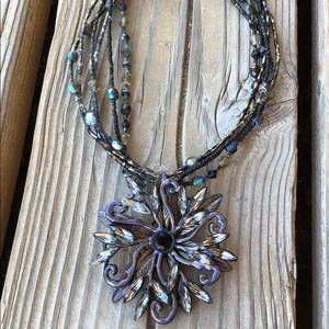 🎁 Fabulous Chico's Beaded Crystal Medallion!